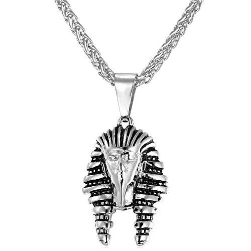 Vintage egyptian pendants amazon u7 men stainless steel silver black egyptian pharaoh pendant necklace aloadofball Image collections