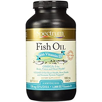 Spectrum Essentials Fish Oil with Vitamin D Softgels, 250 Count