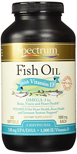 Spectrum Essentials Fish Oil with Vitamin D, 1000 mg, 250 Softgels
