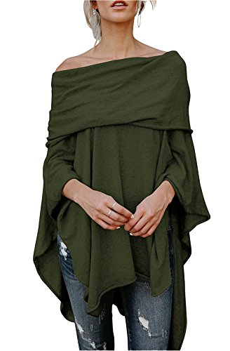 FOXRED Womens Off Shoulder Irregular Hem Soft Knitted Poncho Sweater Pullovers (Medium, Army Green)