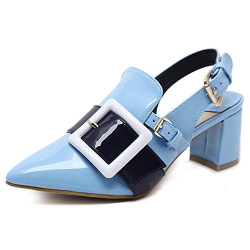 Verano Sandalias Primavera altos Tacones Light de Tacones de Fiesta las Confort de blue altos mujer oficina tacón GAOLIXIA Zapatos de mujeres grueso FxAX8