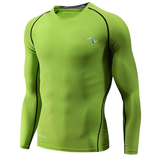 a2184ce0b1a58 Nooz Men's Cool Dry Compression Baselayer Long Sleeve Shirts - Large, Green