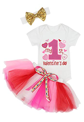 Baby Girls My First Valentine's Day Outfit Dress Romper + Tutu Skirt + Headband 3PCS Skirt Set 0-3 Months Pink
