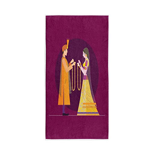 (Semtomn 14 x 30 Inches Bath Towel Indian Wedding Bride and Groom Hindu India Beautiful Woman Soft Absorbent Travel Guest Decor Hand Towels Washcloth for Bathroom(One Side Printing))
