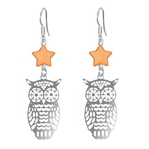Créative Perles - Boucles d'oreilles Enfant Hibou argenté Etoile orange - Argenté