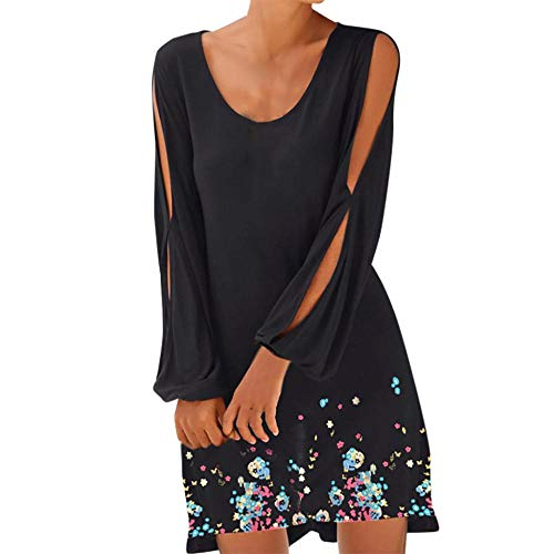 - ZZpioneer Women's Summer O-Neck Hollow Out Lantern Sleeve Casual Solid Beach Style Mini Dress(S,Black-2)