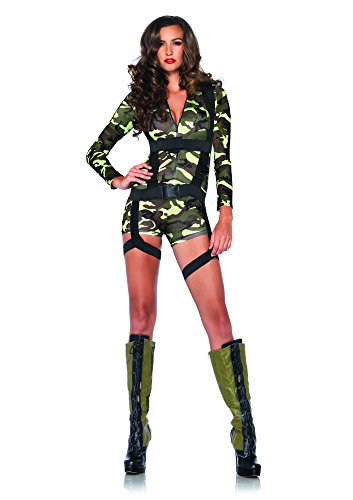 Leg Avenue Women's 2 Piece Goin' Commando  Military Costume, Camo, Medium (Military Halloween Costumes For Womens)
