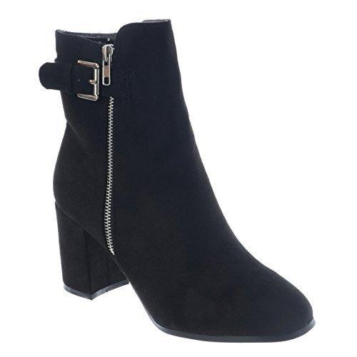 Mujer Caña sobre Talón Tacón Alto Botines PLATA Cremallera Grueso Hebilla Zapatos Talla Negro Ante Artificial