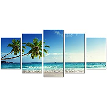 Wieco Art - 5 Panels Modern Stretched and Framed Contemporary Ocean Sea Beach Artwork Pictures Paintings on Canvas Wall Art Seascape Canvas Prints Home Decor for Living Room Bedroom