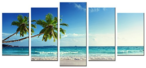 Wieco Art 5 Panels Modern Stretched and Framed Contemporary Ocean Sea Beach Artwork Pictures Paintings on Canvas Wall Art Seascape Canvas Prints Home Decor for Living Room (Art Oil Painting Contemporary Seascape)