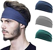 Funshow 3 Pack Men's Athletic Sport Headband, Solid Color Stretchy Yoga Fitness Running Sweatband, Moistur