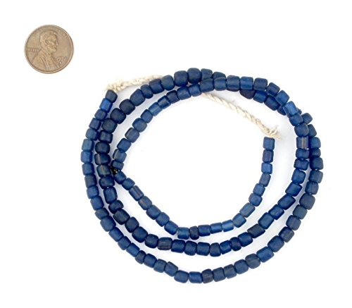 TheBeadChest Indonesian Glass Beads, Small Java Bali 4mm Spacers Jewelry Making Supplies for Necklaces, Bracelets, DIY Crafts (Vintage Cobalt Blue) ()