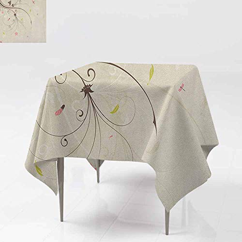 - AndyTours Spill-Proof Table Cover,Dragonfly,Spring Field Bouquet Shabby Chic Abstract Blossom Greenland Graphic Art,Dinner Picnic Table Cloth Home Decoration,50x50 Inch Tan Brown Pale Pink