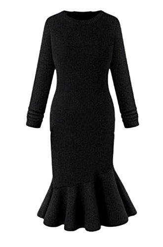 Party Pure Dress Fishtail Color Knit Comfy Cocktail Plus Women Black Size Slim q4B58