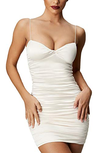 Velius Women's Sexy V Neck High Waist Pleated Ruffled Bodycon Club Dress (Small, White #1) ()