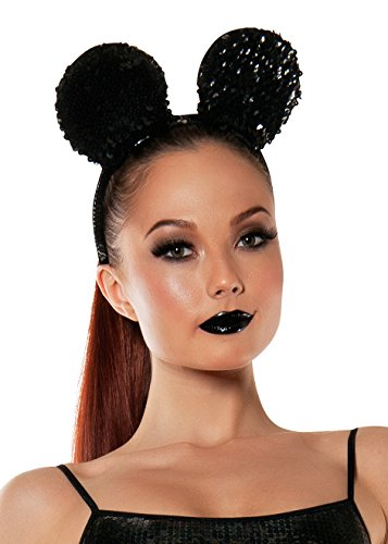 Starline Women's Sequined Mouse Ears Headband Accessory, Black, One Size