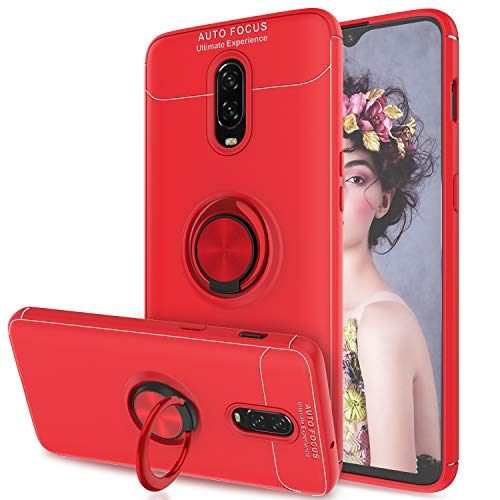 AnoKe Compatible with OnePlus 6T Case with Metal Ring Kickstand, 360 Degree Rotating Ring Grip Flexible Soft Shockproof TPU Gel Bumper Silicone Hybrid Protection Phone Cover for OnePlus 6T JSZH Red