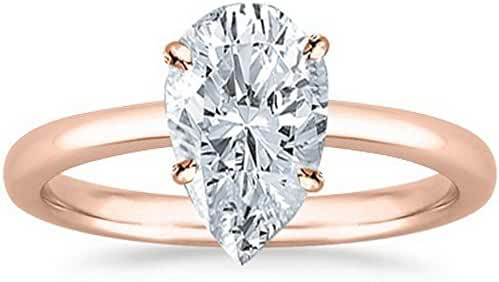 GIA Certified 18K White Gold Pear Cut Solitaire Diamond Engagement Ring (0.59 Carat E Color VS2 Clarity)