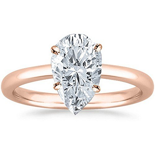 18K Rose Gold Pear Cut Solitaire Diamond Engagement Ring (1.7 Carat D-E Color SI1 Clarity)