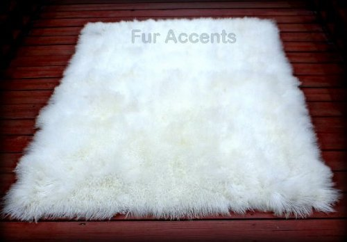 Fur Accents Sheepkin Area Rug Collection White Mongolian Fleece Faux Fur Rectangle 10 x8
