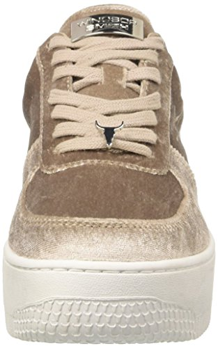 Beige Taupe Collo a Velvet Windsor Donna Smith Racerr Alto Sneaker xaRnwPzq8