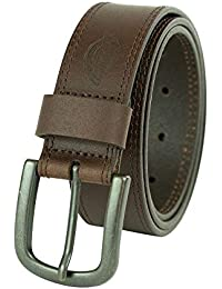 Men's 100% Leather Jeans Belt with Stitch Design and Prong Buckle