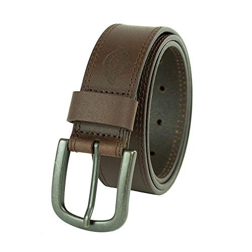 Dickies 100% Leather Jeans Belt with Stitch Design and Prong Buckle 11/2 In., Brown,44