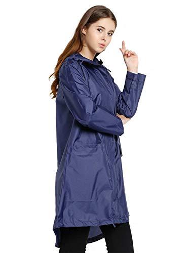 Las Color Mujeres Moda De Aire Dunkelblau Ligero Sólido Impermeable Botones Abrigo Cordón Chaqueta Mode Marca Lluvia Libre Cremallera Con Capucha Al 1cWxgwqn