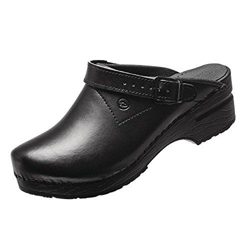 Toffeln 0723 - 39 Chaussures, Flexiklog Avec Ceinture Arrière, Taille 39/6, Noir