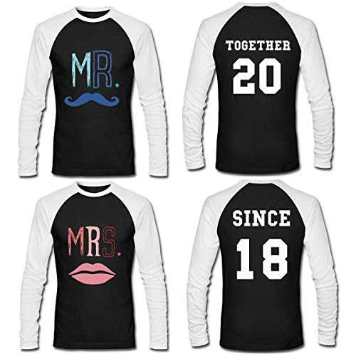 LAUKEXIN Couple Long Sleeve Shirts Mr and Mrs Together Since Custom Anniversary Tees (Women M -Men L)