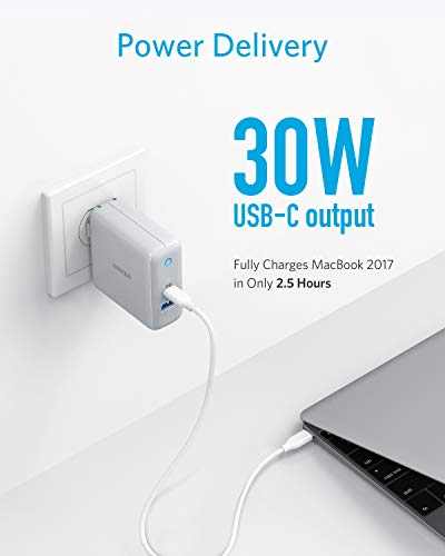 USB C Charger, Anker PowerPort Speed+ Duo Wall Charger with 30W Power Delivery Port for iPhone Xs/Max/XR/X/8, iPad Pro 2018/Air 2/Mini, MacBook Pro/Air 2018, Galaxy S9/S8, Pixel, LG, Nexus, and More