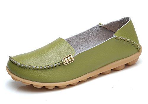 Venuscelia Womens Natural Comfort Walking Flat Loafer Lauriergroen / Pistache