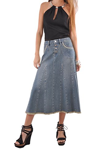 Style J Lady Grace Denim Skirt-Blue-30(10)