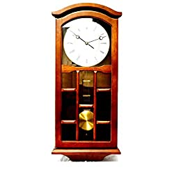 J&D Best Pendulum Wall Clock, Silent Decorative Wood Clock with Swinging Pendulum, Battery Operated for Living Room, Kitchen, Office & Home Décor (Dark Wood -TQWW4079 =24'' x 9.5'' x 3'' Inches)