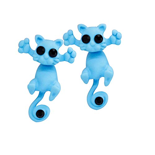 FEDULK Womens Simple Earrings Creative Crazy Animal Cartoon Cat Kitten Novelty Earrings(Blue1, One Size)]()
