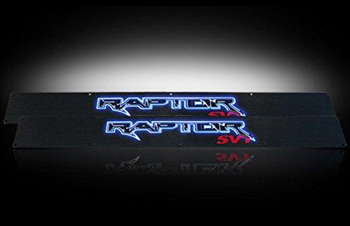 Ford 09-14 SVT RAPTOR Billet Aluminum Door Sill / Kick Plate (2pc Kit Fits Driver & Front Passenger Side Doors Only) in Black Finish - RAPTOR in BLUE ILLUMINATION