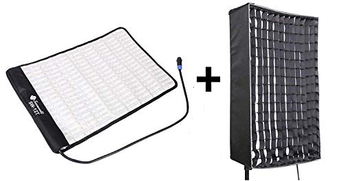 SOONWELL Portable Photography Softbox with Egg Crate Grid Dimmable 34W 3200/5600K Flexible LED Light Mat Studio Filming Soft Light Kit