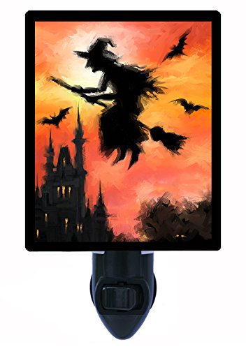 [Halloween Night Light - Halloween Witch - Flying - Broom LED NIGHT LIGHT] (Make Broom Costume)