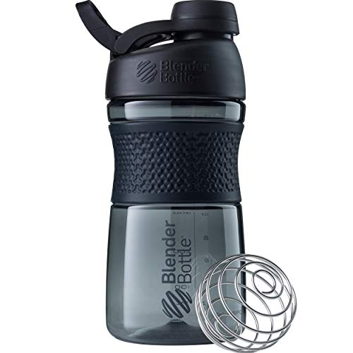 BlenderBottle SportMixer Twist Cap Tritan Grip Shaker Bottle, 20-Ounce, Black