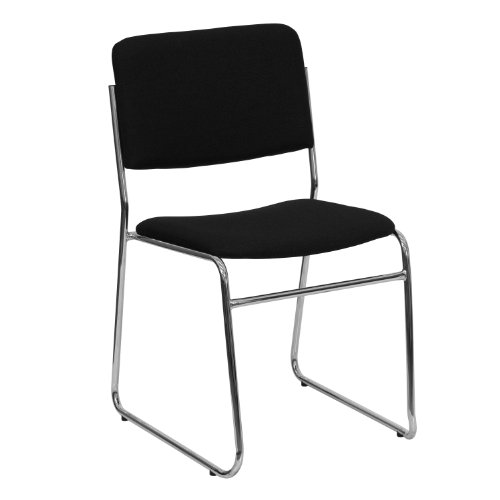 MFO 1000 lb. Capacity Black Fabric High Density Stacking Chair with Chrome Sled Base