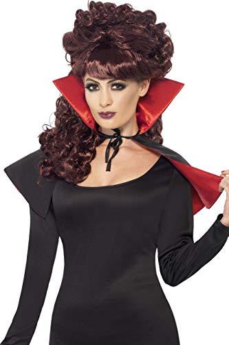 Smiffys Women's Mini Vamp Cape, Black & Red, Short,  One Size, -