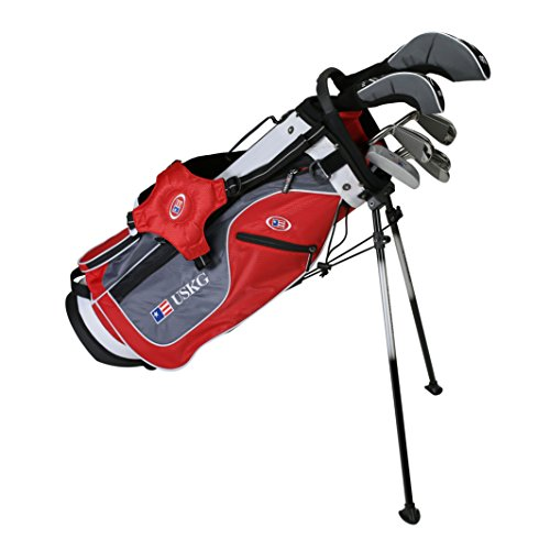 (US Kids Golf UL54 7-Club DV2 Stand Bag Set, Right Hand, Red/Grey/White)