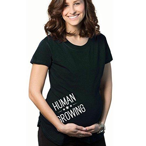 Highdas Mama embarazada camiseta del bebé del patrón del pío divertido Mujeres top de embarazo Negro