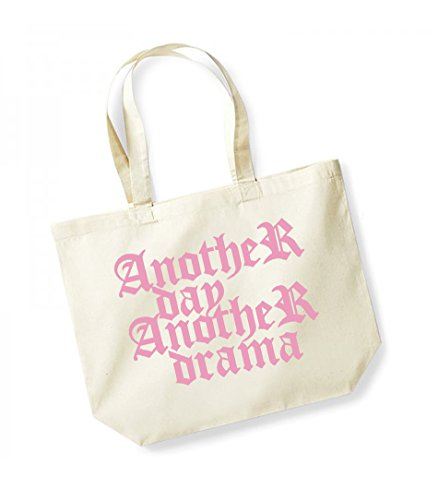 Another Natural Bag Day Tote Print Drama pink Unisex Cotton Slogan Kelham Canvas wq0v71xx