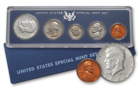 - 1966 P 5 Piece set Proof in original packaging from US mint Proof
