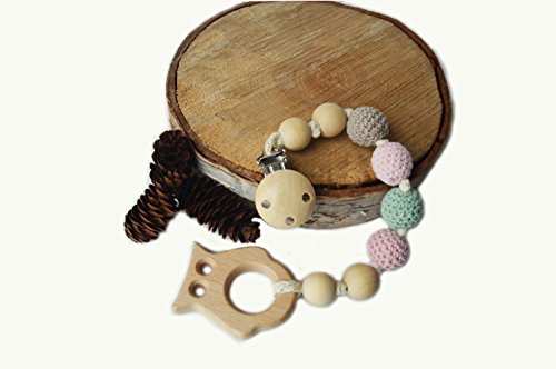 Natural Wooden Teething Toy Interchangeable Pacifier Holder Strap, Dummy Clip- by Mali Wear baby shower gift- unfinished wood (pink owl)