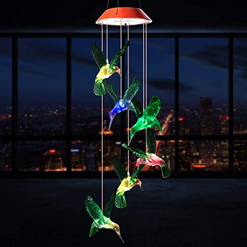 SIX FOXES LED Hummingbird Solar Wind Chimes, Color Changing Wind Chimes Outdoor, Waterproof Wind Mobile Solar Lights, Décor for Garden, Yard, Patio, Home, Gifts for Mom, Wife, Grandma