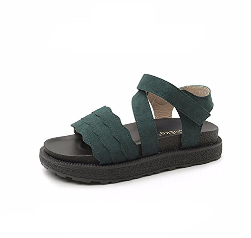 DANDANJIE Zapatos de Mujer Verano Sandalias cómodas Cómodas Chicas Retro Velcro Suela de Velcro Zapatillas de Gran tamaño (34-43 Beige Negro Verde) Zapatos caseros Verde