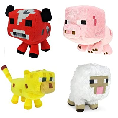Mojiang Minecraft Animal Plush Set of 4: Baby Pig, Baby Mooshroom, Baby Ocelot, Baby Sheep 6-8 Inches