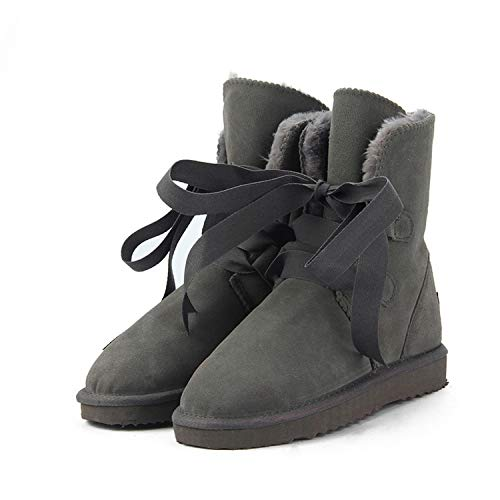 (New Fashion Genuine Leather Winter Boots Warm 12 Colour Shoes US 3-13,Gray,5)